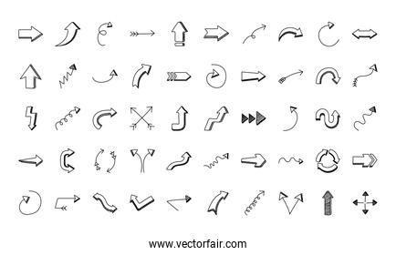 bundle of fifty arrows set icons
