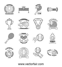bundle of sixteen sport tennis set collection icons