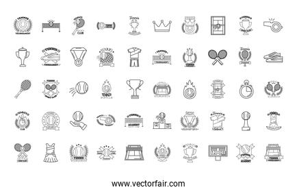 bundle of fifty sport tennis set icons