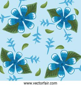 Flowers color blue pattern detailed style