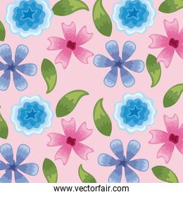 Flowers colors blue and pink pattern detailed style