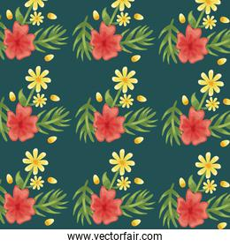 Flowers red and yellow pattern detailed style