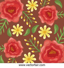 Flowers colors red and yellow pattern detailed style