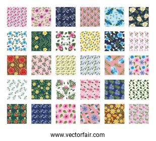 bundle of fifty Flowers patterns backgrounds