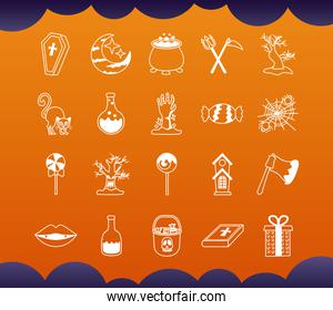 bundle of twenty halloween set icons