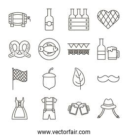 pack of sixteen oktoberfest set collection icons