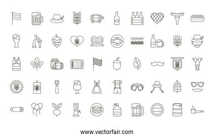 collection of oktoberfest set fifty icons