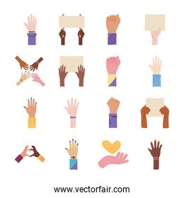 collection of sixteen hands protest set icons