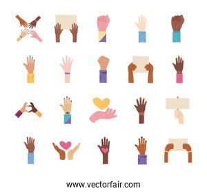 bundle of twenty hands protest set icons