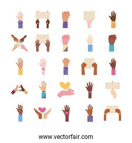 bundle of twenty five hands protest set collection icons