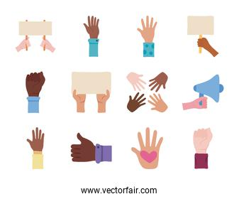 bundle of twelve hands protest set icons