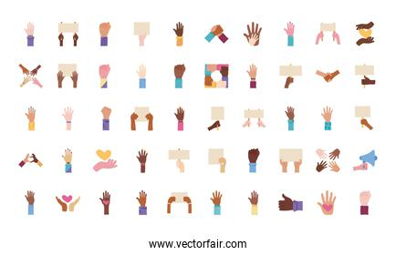 bundle of fifty hands protest set icons
