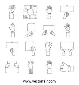 bundle of sixteen hands protest collection set linear icons