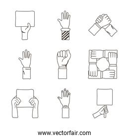bundle of nine hands protest, line style icons
