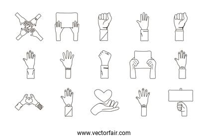 bundle of fifteen hands protest set icons