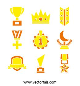 icon set of badges and trophies, flat style
