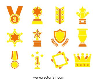 medal and badge icon set, flat style