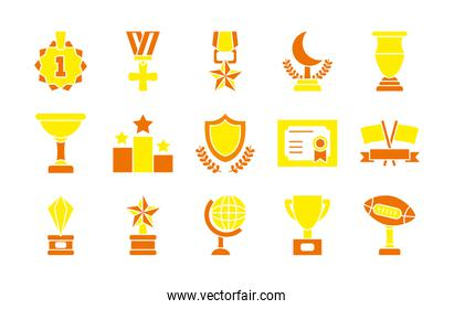 geography tool and badges icon set, flat style