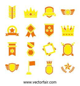 icon set of badges and shields, flat style