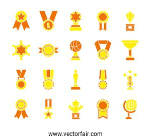 trophys and badge icon set, flat style