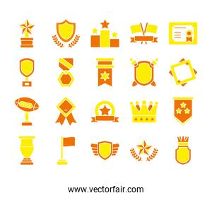 icon set of crown and badges, flat style