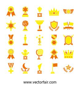 icon set sports trophies and badges, flat style