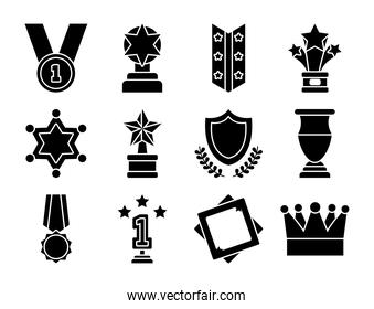 medal and badge icon set, silhouette style