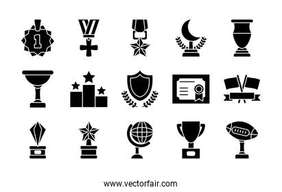 geography tool and badges icon set, silhouette style