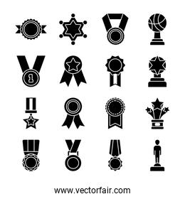 sheriff star and badge icon set, silhouette style