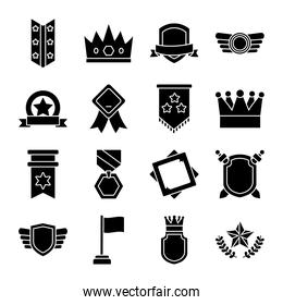 icon set of badges and shields, silhouette style