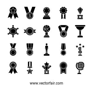 trophys and badge icon set, silhouette style