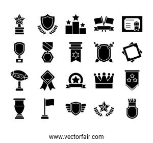 icon set of crown and badges, silhouette style
