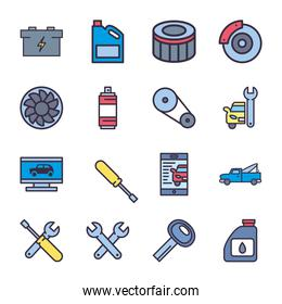 repair service and car line and fill style icon vector design
