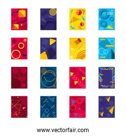icon set of abstract backgrounds with geometric shapes, colorful design