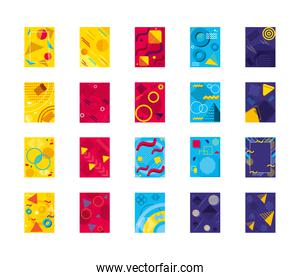 icon set of abstract and colorful backgrounds