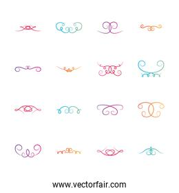 icon set of decorative swirl dividers, flat style