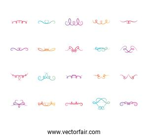 ornaments swirls dividers icon set, flat style