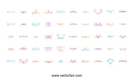icon set of swirl dividers, flat style