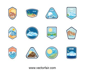 expedition and mountains insignia badges icon set, flat style