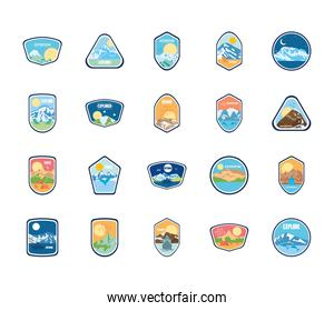 mountains and snowy mountains insignia badges icon set, flat style