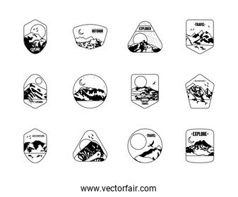 expedition and mountains insignia badges icon set, silhouette style