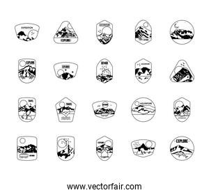 mountains and snowy mountains insignia badges icon set, silhouette style