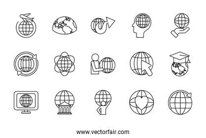 computer and global sphere icon set, line style