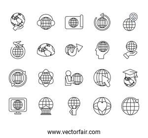 bank building and global sphere icon set, line style