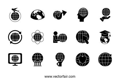 computer and global sphere icon set, silhouette style