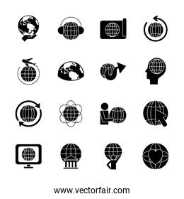 pictogram man and global sphere icon set, silhouette style