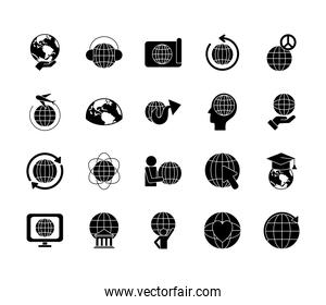 bank building and global sphere icon set, silhouette style