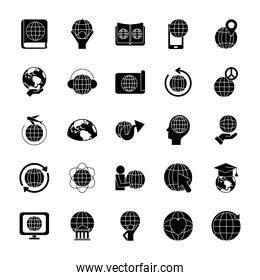 earth planet and global sphere icon set, silhouette style