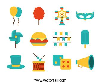 carnival mask and fair icon set, flat style