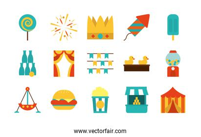 lollypop and fair icon set, flat style